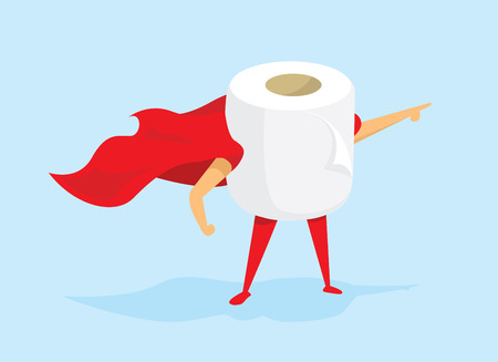Ilustración de Cartoon illustration of toilet paper super hero saving the day - Imagen libre de derechos