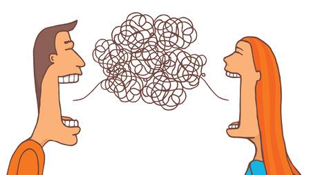 Ilustración de Cartoon illustration of couple talking trying to communicate - Imagen libre de derechos