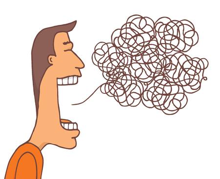 Ilustración de Cartoon illustration of communication mess or tangled message - Imagen libre de derechos