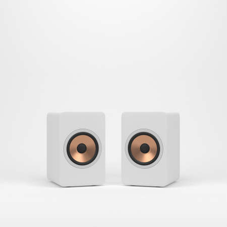 Photo for Two wooden white speakers with golden speaker driver - Royalty Free Image