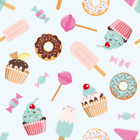 Illustration pour Birthday seamless pattern with sweets. Girly. For print and web. Vector - image libre de droit