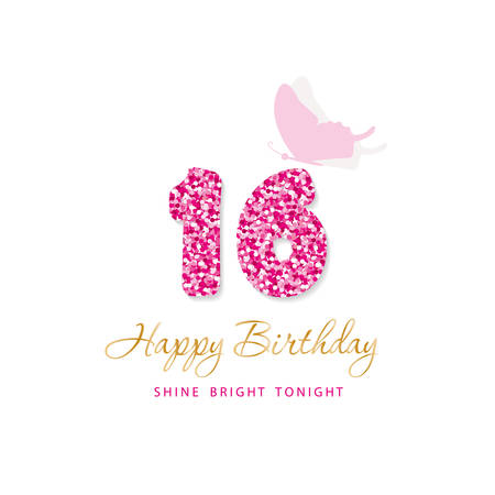 Ilustración de Happy Birthday card for girls. Sweet 16 glitter numbers. Pink and gold. Vector illustration - Imagen libre de derechos