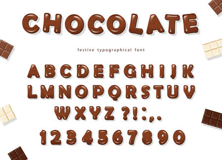 Illustration for Chocolate font design. Sweet glossy ABC letters and numbers. Vector - Royalty Free Image