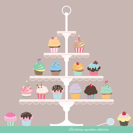 Illustrazione per Cute cartoon cupcakes on stand. Birthday design. - Immagini Royalty Free