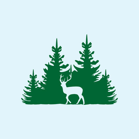 Illustration pour Deer on the background of the coniferous forest. - image libre de droit