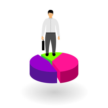 Ilustración de Market share business concept. Businessman with briefcase standing on pie chart. Economic financial share profit. Vector illustration in flat design. - Imagen libre de derechos