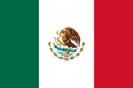 Illustration for Mexico national flag real colors. - Royalty Free Image