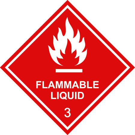 Illustration for Flammable liquid sign red square label. - Royalty Free Image