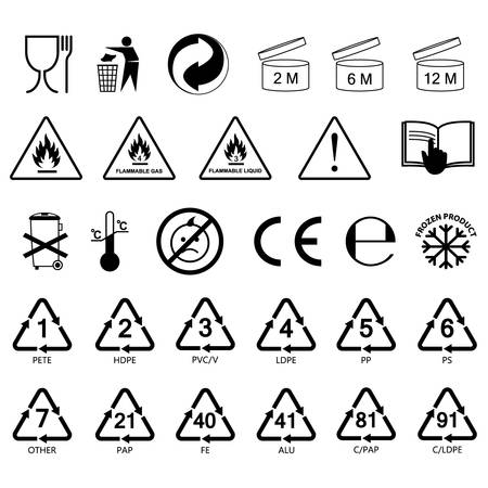 Illustration pour packaging information label icons, packaging label symbols, labels, no fill, black outline - image libre de droit