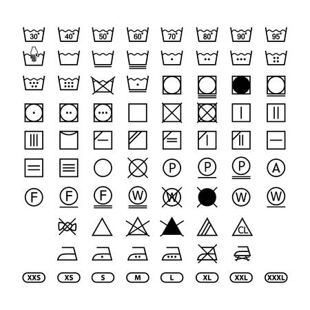 Illustration for clothing washing label instructions, laundry symbols icon set, washing label icons for clothes - Royalty Free Image