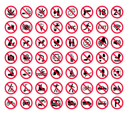 Ilustración de Red prohibition sign set. Forbidden signs collection Vector illustration. - Imagen libre de derechos