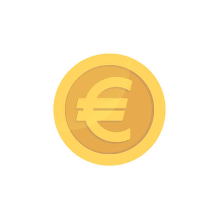 Illustration for Golden glossy euro coin. Gold pictograph euro shiny coin. - Royalty Free Image