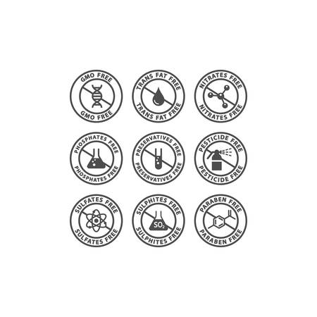 Illustration for Gmo, preservatives, trans fat free vector badge label. Nitrates, sulfates, pesticides free glyph circle stamp set for packaging. - Royalty Free Image