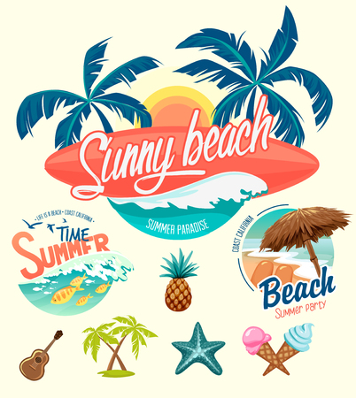 Illustration pour Set of Summer surfing badges and design elements - image libre de droit