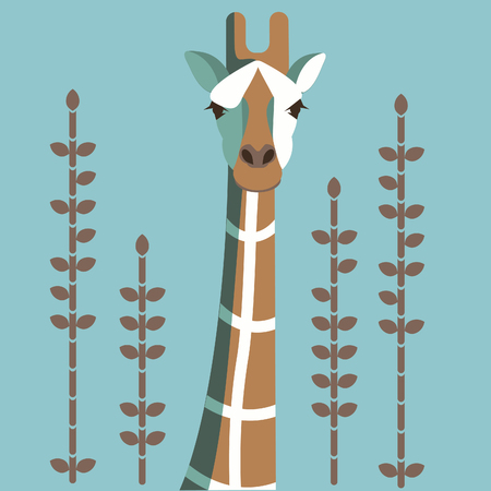 Vector illustration with wild giraffe mural