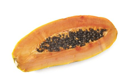 Photo for open papaya in front of white background - Royalty Free Image
