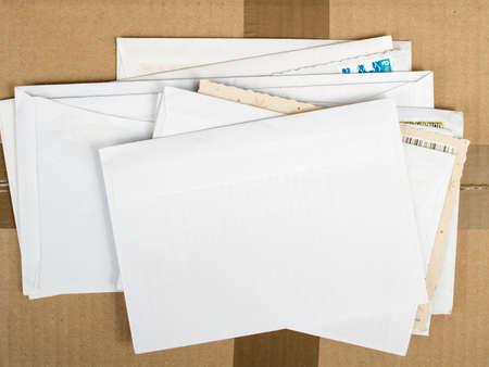 Foto de a pile of letters and postal parcel - Imagen libre de derechos