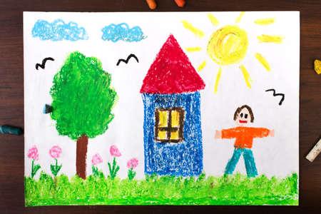 Photo pour Colorful drawings: a country house and happy men - image libre de droit