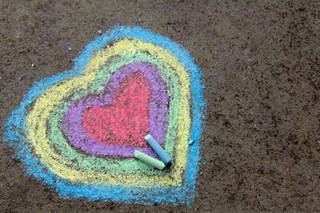 Photo for chalk drawing: colorful hearts on asphalt - Royalty Free Image