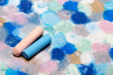 Photo for Photo of hand drawing. Colorful texture for background. Oil pastels drawing - Royalty Free Image