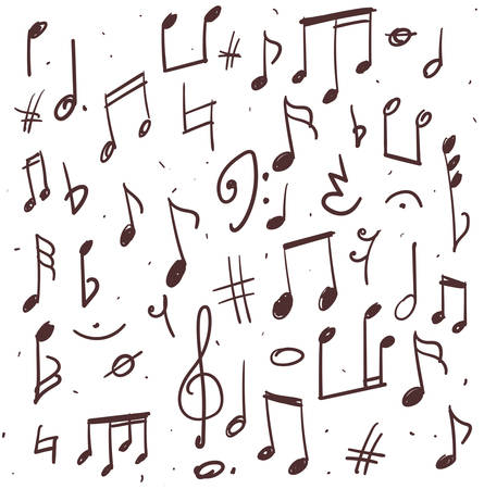Illustration pour Hand drawn illustration of music notes and other signs - image libre de droit