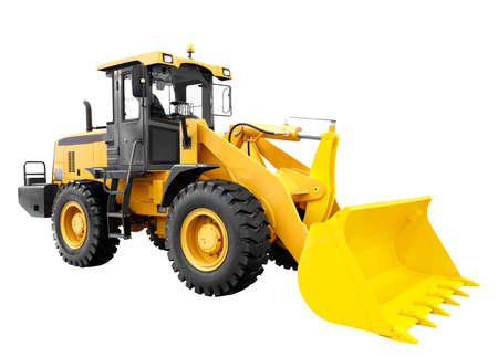 Photo for Modern yellow loader bulldozer excavator construction machinery equipment isolated on white background - Royalty Free Image