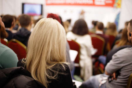 Photo for Business woman and people Listening on The Conference. Horizontal Image - Royalty Free Image