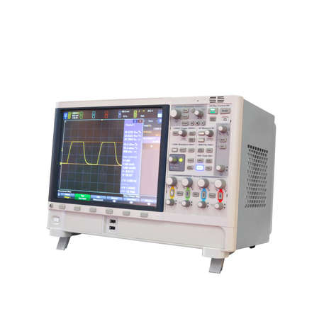 Photo pour Digital oscillograph isolated on white background, power analyzer 3 phaze - image libre de droit