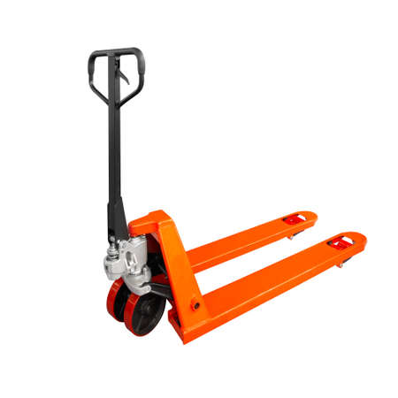 Photo for Hand pallet truck, isolated on white - Royalty Free Image