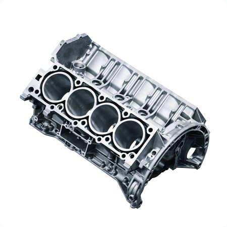 Photo pour cylinder block .Automotive part, machine part isolated on a white background. engine block v8 - image libre de droit