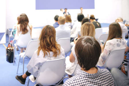 Photo for Woman and people Listening on The Conference. Horizontal Image - Royalty Free Image