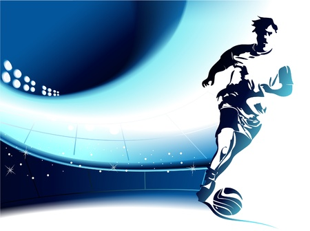 Ilustración de Football background with player - Imagen libre de derechos