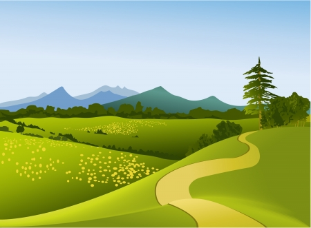 Illustration pour Mountain landscape with road - image libre de droit