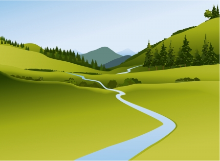 Illustration pour Mountain landscape with river - image libre de droit