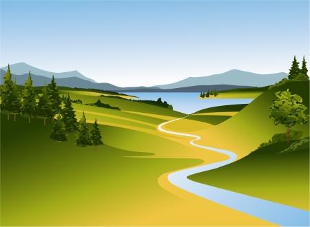 Illustration pour Mountain landscape with river - image libre de droit