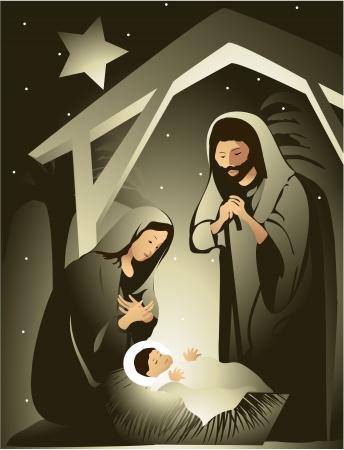 Illustration pour Nativity scene  - image libre de droit