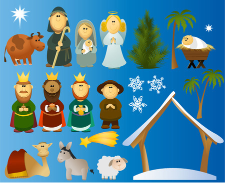 Illustration pour Set of Christmas scene elements  - image libre de droit