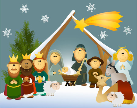 Illustration pour Cartoon nativity scene with holy family  - image libre de droit