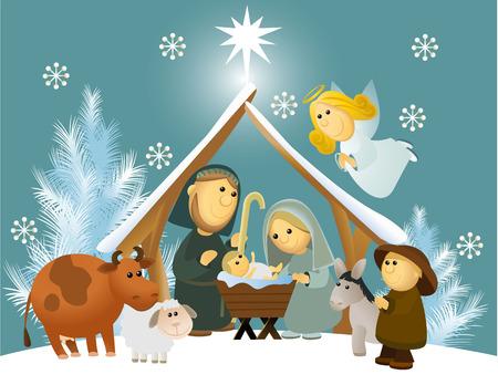 Illustration pour Cartoon nativity scene with holy family  - image libre de droit