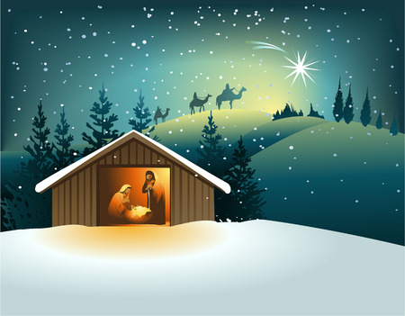 Illustration pour Christmas nativity scene with holy family - image libre de droit