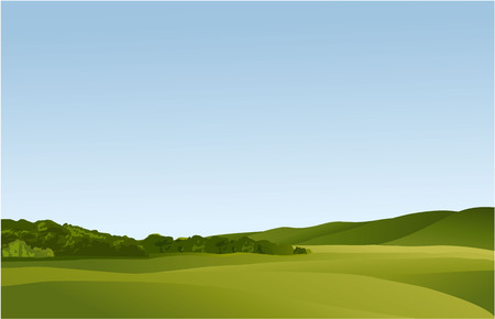 Illustration pour Rural landscape with green hills - image libre de droit