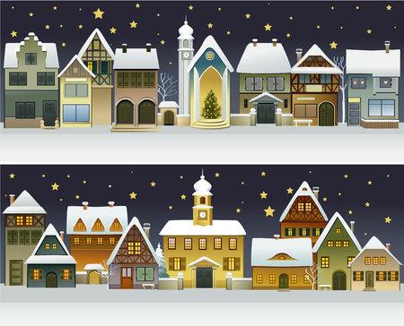 Ilustración de Winter banners with cartoon houses - Imagen libre de derechos