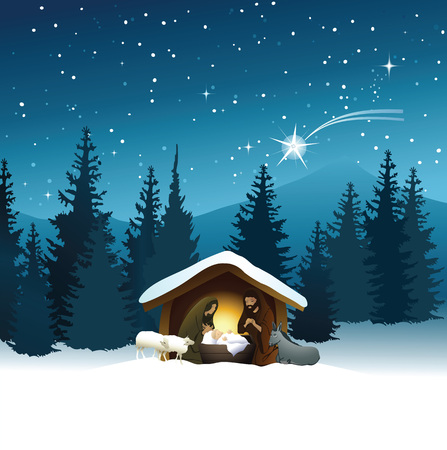 Illustration pour Nativity scene with Holy Family - image libre de droit