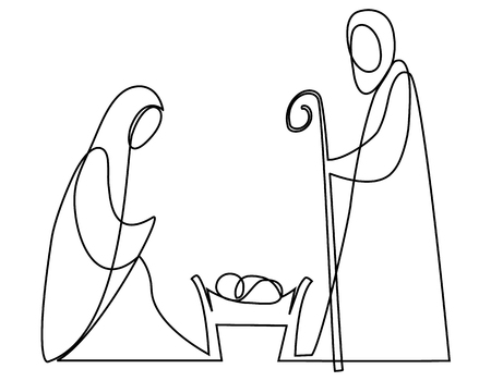 Illustration pour Nativity scene with Holy Family one line drawing - image libre de droit