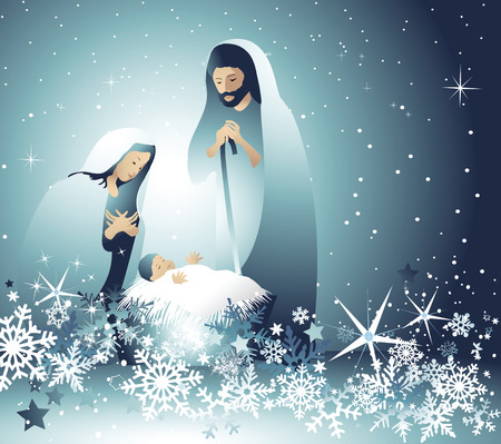 Illustration for Nativity scene with Holy Family - Royalty Free Image