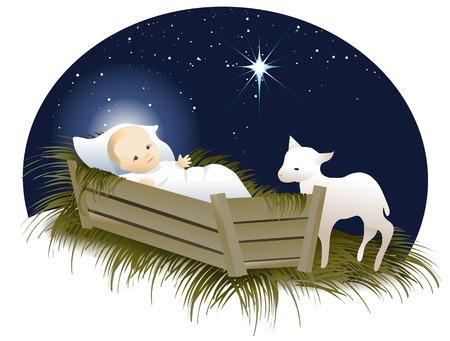 Ilustración de Jesus in the crib - Imagen libre de derechos