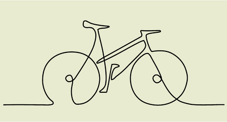 Illustration pour Abstract one line drawing with bike - image libre de droit