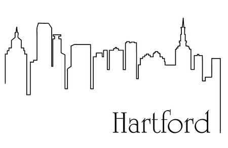 Illustration pour Hartford city one line drawing abstract - image libre de droit