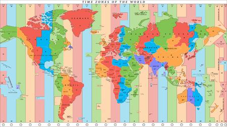 Illustration pour Vector detailed world map with time zones - image libre de droit