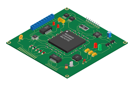 Illustrazione per Isometric vector printed circuit board with electronic components - Immagini Royalty Free